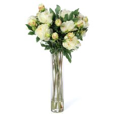 Peony with Cylinder Silk Flower Arrangement in White