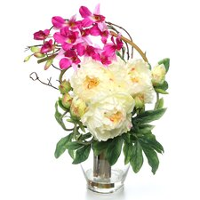 Peony and Orchid Silk Flower Arrangement in White