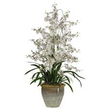 <strong>Nearly Natural</strong> Triple Dancing Lady Silk Orchid Arrangement in White