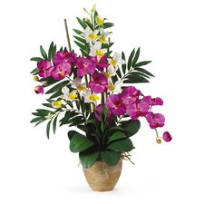 <strong>Nearly Natural</strong> Double Phalaenopsis and Dendrobium Silk Orchid Arrangement in Orchid and Cream