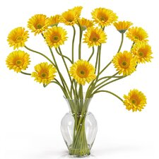 <strong>Nearly Natural</strong> Liquid Illusion Silk Gerber Daisy Arrangement in Yellow