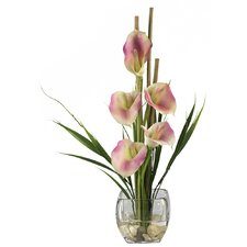 Liquid Illusion Silk Calla Lily Arrangement in Pink