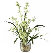 <strong>Nearly Natural</strong> Liquid Illusion Dancing Lady Silk Orchid Arrangement in Green
