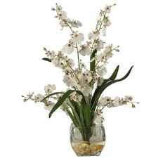 Liquid Illusion Silk Orchids in White with Vase