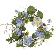 "<strong>Nearly Natural</strong> 20"" Hydrangea Wreath in Blue"