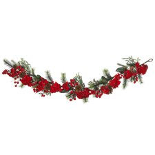 """72"""" Hydrangea Garland in Red and Green"""