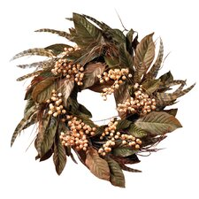 "<strong>Nearly Natural</strong> 24"" Feather and Berry Wreath"
