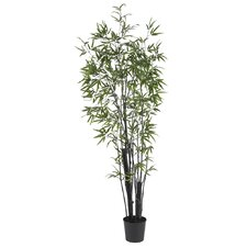 "72"" Silk Black Bamboo Tree in Green"