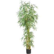 "84"" Curved Slim Silk Bamboo Tree in Green"