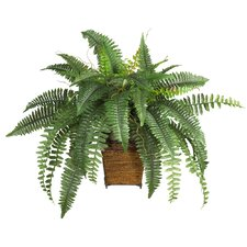 Silk Boston Fern Plant with Wicker Basket in Green