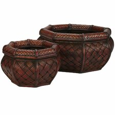 <strong>Nearly Natural</strong> Rounded Octagon Decorative Planters (Set of 2)