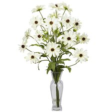 <strong>Nearly Natural</strong> Cosmos with Vase Silk Flower Arrangement in White
