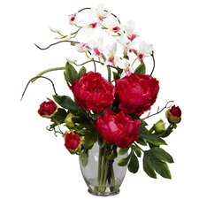 Peony and Orchid Silk Flower Arrangement in Red