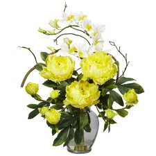 Peony and Orchid Silk Flower Arrangement in Yellow