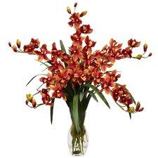 Cymbidium Orchid Silk Flower Arrangement in Burgundy