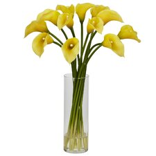 Mini Calla Lily Flower Arrangement in Yellow