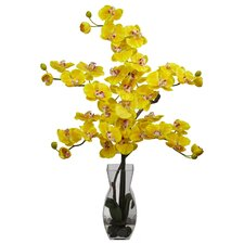 Phalaenopsis with Vase Silk Flower Arrangement in Yellow