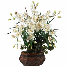 Large Cymbidium Silk Flower Arrangement in White