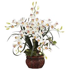Cymbidium with Decorative Vase Silk Arrangement in White