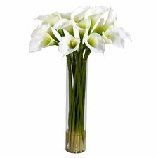 Calla Lilly with Cylinder Silk Flower Arrangement in Cream
