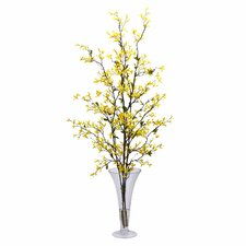 Forsythia with Vase Silk Flower Arrangement