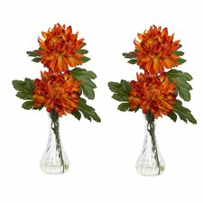 Mum with Bud Vase Silk Flower Arrangement (Set of 2)