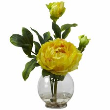 Peony with Fluted Vase Silk Flower Arrangement in Yellow