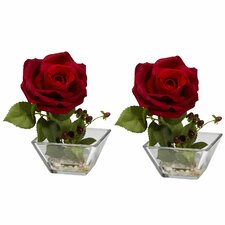 Rose with Square Vase Silk Flower Arrangement (Set of 2)