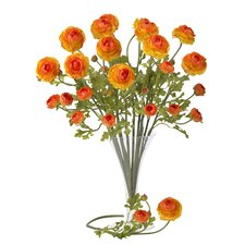 "<strong>Nearly Natural</strong> 23"" Ranunculus Stem in Orange (Set of 12)"