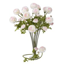 "<strong>Nearly Natural</strong> 23"" Ranunculus Stem in White / Pink (Set of 12)"