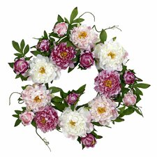 "<strong>Nearly Natural</strong> 22"" Peony Wreath"