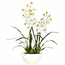 <strong>Nearly Natural</strong> Cymbidium w/White Vase Silk Flower Arrangement