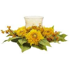 Golden Sunflower Candleabrum Silk Flower Arrangement