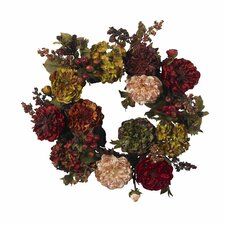 "<strong>Nearly Natural</strong> 22""  Autumn Hydrangea Peony Wreath"