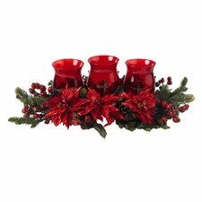 Poinsettia and Berry Triple Candelabrum