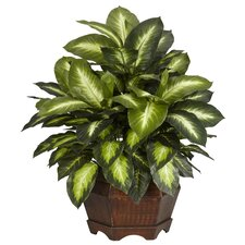<strong>Nearly Natural</strong> Golden Dieffenbachia Silk Desk Top Plant in Planter