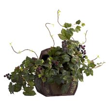 <strong>Nearly Natural</strong> Grape Leaf Desk Top Plant in Chest