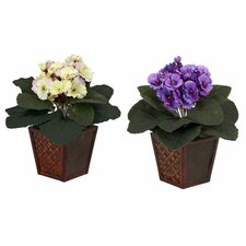 <strong>Nearly Natural</strong> African Violet Desk Top Plant in Pot (Set of 2)