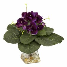 <strong>Nearly Natural</strong> Gloxinia Desk Top Plant in  Decorative Vase