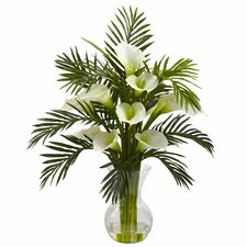 Calla Lily and Palm Combo in Decorative Vase
