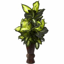 Nearly Natural Golden Dieffenbachia Floor Plant in Decorative Vase