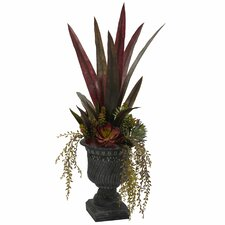 Nearly Natural Mixed Succulent Desk Top Plant in Urn