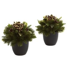 Pine and Berries with Black Planter (Set of 2)