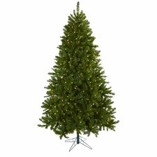 Nearly Natural 7.5' Green Artificial Windermere Christmas Tree with 550 Clear Lights with Stand