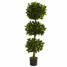 Nearly Natural Triple Bay Leaf Round Topiary in Pot