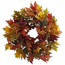 <strong>Nearly Natural</strong> Maple and Berry Wreath