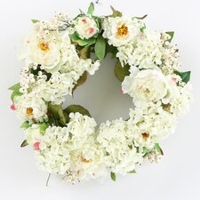 "<strong>Nearly Natural</strong> 20"" Peony Hydrangea Wreath in White"