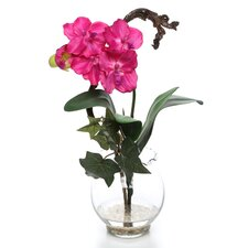 Mini Vanda with Fluted Vase Silk Flower Arrangement in Beauty