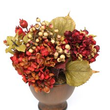 Autumn Hydrangea Arrangement with Round Vase