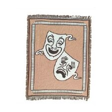 Theatrical Comedy / Tragedy Mask Cotton Throw Blanket